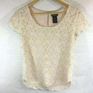 Talula Aritzia Lace Blouse Short Sleeve Pink Ivory